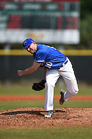 U-Mass Boston Beacons pitcher Kyle Szatrowski (10) during a game against the Farmingdale State Rams at North Charlotte Regional Park on March 19, 2015 in Port Charlotte, Florida.  U-Mass Boston defeated Farmingdale 9-5.  (Mike Janes/Four Seam Images)