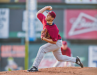 8 July 2015: Mahoning Valley Scrappers pitcher Leandro Linares on the mound against the Vermont Lake Monsters at Centennial Field in Burlington, Vermont. The Lake Monsters defeated the Scrappers 9-4 to open the home game series of NY Penn League action. Mandatory Credit: Ed Wolfstein Photo *** RAW Image File Available ****