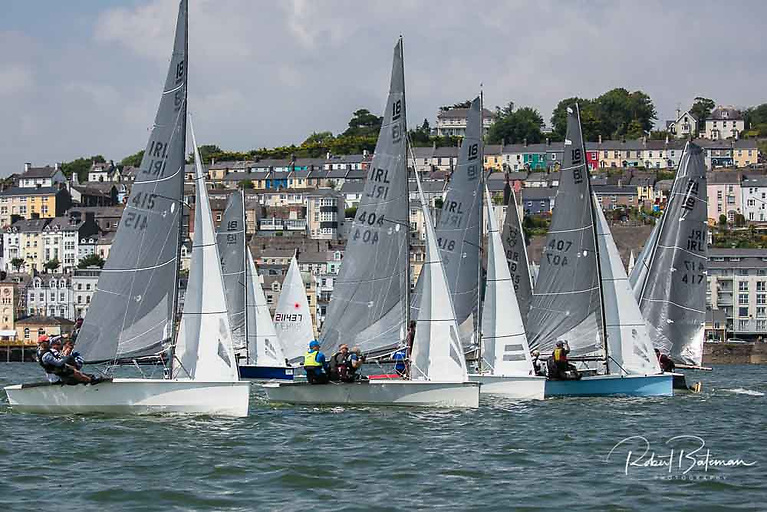 The wind filled in for the start of the race to Ballinacurra with one National 18 dinghy over the line and having to return