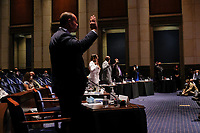 Witnesses are sworn in during a House Judiciary Committee hearing to discuss police brutality and racial profiling on Wednesday, June 10, 2020.<br /> Credit: Greg Nash / Pool via CNP/AdMedia