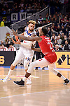 Real Madrid's Jeffery Taylor and EA7 Emporio Armani Milan's Awudu Abass during Turkish Airlines Euroleage match between Real Madrid and EA7 Emporio Armani Milan at Wizink Center in Madrid, Spain. January 27, 2017. (ALTERPHOTOS/BorjaB.Hojas)