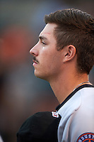 Tri-City ValleyCats pitcher Austin Nicely (13) during the national anthem before a game against the Aberdeen Ironbirds on August 6, 2015 at Ripken Stadium in Aberdeen, Maryland.  Tri-City defeated Aberdeen 5-0 in a combined no-hitter.  (Mike Janes/Four Seam Images)
