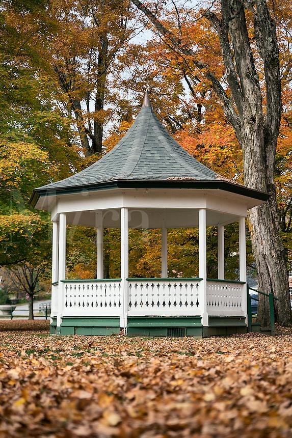 Gazebo on the village green with autumn foilage, Weston, Vermont, USA