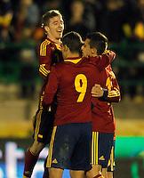 Spain's Iker Muniain, Rodrigo and Christian Tello celebrate goal during international sub21 match.March 21,2013. (ALTERPHOTOS/Acero) /NortePhoto