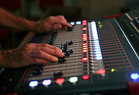 Sound technician, St Mary's Church, Petworth Festival, West Sussex.