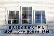 Bridgewater meeting house during the autumn months. Located in Bridgewater  New Hampshire USA...