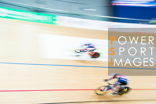 Elinor Barker of Great Britain and Sarah Hammer of USA compete in the Women's Points Race 25 km Final during the 2017 UCI Track Cycling World Championships on 16 April 2017, in Hong Kong Velodrome, Hong Kong, China. Photo by Marcio Rodrigo Machado / Power Sport Images