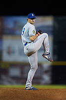 Burlington Royals relief pitcher Patrick Smith (19) in action against the Pulaski Yankees at Calfee Park on September 1, 2019 in Pulaski, Virginia. The Royals defeated the Yankees 5-4 in 17 innings. (Brian Westerholt/Four Seam Images)