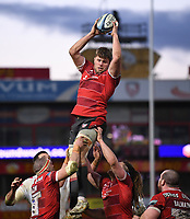 26th March 2021; Kingsholm Stadium, Gloucester, Gloucestershire, England; English Premiership Rugby, Gloucester versus Exeter Chiefs;  Ruan Ackermann of Gloucester wins the lineout ball