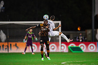LAKE BUENA VISTA, FL - JULY 23: Boniek Garcia #27 of the Houston Dynamo heads the ball during a game between Los Angeles Galaxy and Houston Dynamo at ESPN Wide World of Sports on July 23, 2020 in Lake Buena Vista, Florida.