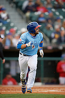 Buffalo Bisons catcher Raffy Lopez (43) runs to first base after hitting a home run during a game against the Pawtucket Red Sox on May 19, 2017 at Coca-Cola Field in Buffalo, New York.  Buffalo defeated Pawtucket 7-5 in thirteen innings.  (Mike Janes/Four Seam Images)
