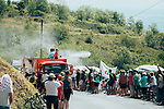 The publicity caravan cools the fans down as it passes by before the race during Stage 8 of the 2019 Tour de France running 200km from Macon to Saint-Etienne, France. 13th July 2019.<br /> Picture: ASO/Thomas Maheux   Cyclefile<br /> All photos usage must carry mandatory copyright credit (© Cyclefile   ASO/Thomas Maheux)