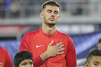 WASHINGTON, D.C. - OCTOBER 11: Tim Matt Miazga #3 of the United States during the national anthem prior to their Nations League game versus Cuba at Audi Field, on October 11, 2019 in Washington D.C.