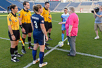 Bridgeview, IL, USA - Sunday, May 29, 2016: Illinois Women's Soccer League president Flo Dyson tosses the coin before a regular season National Women's Soccer League match between the Chicago Red Stars and Sky Blue FC at Toyota Park. The game ended in a 1-1 tie.