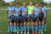 Piscataway, NJ, May 7, 2016.  The starting 11 for Sky Blue FC.  Sky Blue FC took on the Western New York Flash during a National Women's Soccer League (NWSL) match at Yurcak Field.