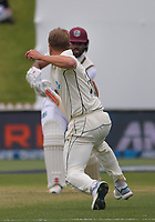 NZ's Neil Wanger tries to catch Windies batsman John Campbell out of his crease during day three of the second International Test Cricket match between the New Zealand Black Caps and West Indies at the Basin Reserve in Wellington, New Zealand on Sunday, 13 December 2020. Photo: Dave Lintott / lintottphoto.co.nz