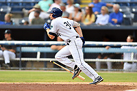 Asheville Tourists Grant Lavigne (34) runs to first base during a game against the Lakewood BlueClaws at McCormick Field on August 4, 2019 in Asheville, North Carolina. The Tourists defeated the BlueClaws 13-6. (Tony Farlow/Four Seam Images)