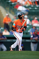 Baltimore Orioles third baseman Ryan Flaherty (3) at bat during a Spring Training game against the Minnesota Twins on March 7, 2016 at Ed Smith Stadium in Sarasota, Florida.  Minnesota defeated Baltimore 3-0.  (Mike Janes/Four Seam Images)