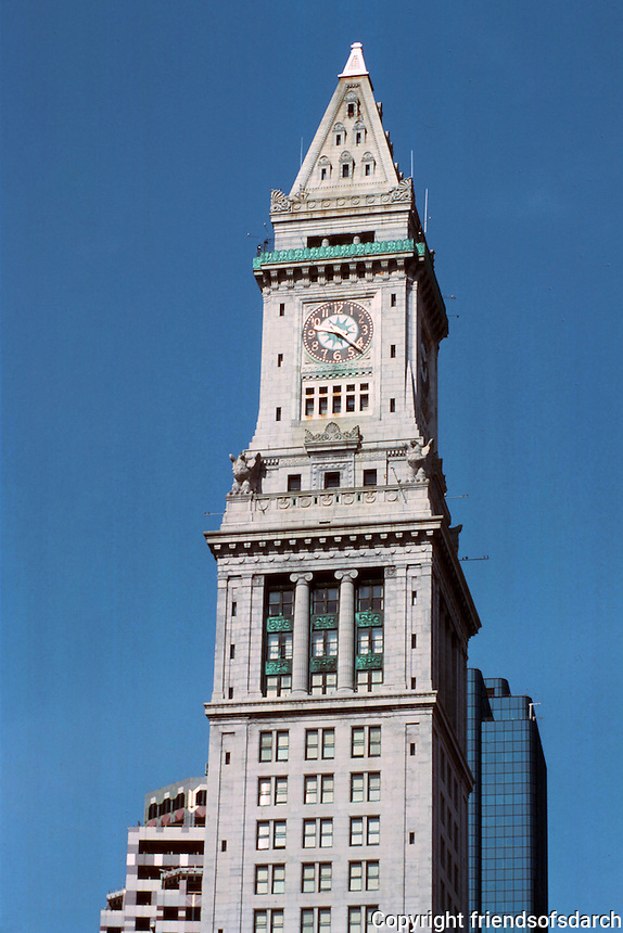 Boston:  The Customs House Tower--the first building to break the skyline--1913-15. 30 stories.  Peabody and Stearns. The Tower was added to original Customs House.  Now Marriot's Custom House Hotel.  Photo '88.