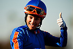 Chantal Sutherland celebrates a win in the the Hollywood Gold Cup  at Betfair Hollywood Park aboard Game on Dude, in Inglewood, California on July 7, 2012.