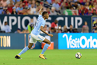Houston, TX - Thursday July 20, 2017: Tosin Adarabioyo during a match between Manchester United and Manchester City in the 2017 International Champions Cup at NRG Stadium.
