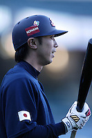 Shinya Miyamoto of Japan during World Baseball Championship at Angel Stadium in Anaheim,California on March 15, 2006. Photo by Larry Goren/Four Seam Images