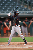 AZL Giants Black Ghordy Santos (8) at bat during an Arizona League game against the AZL Athletics Gold on July 12, 2019 at Hohokam Stadium in Mesa, Arizona. The AZL Giants Black defeated the AZL Athletics Gold 9-7. (Zachary Lucy/Four Seam Images)