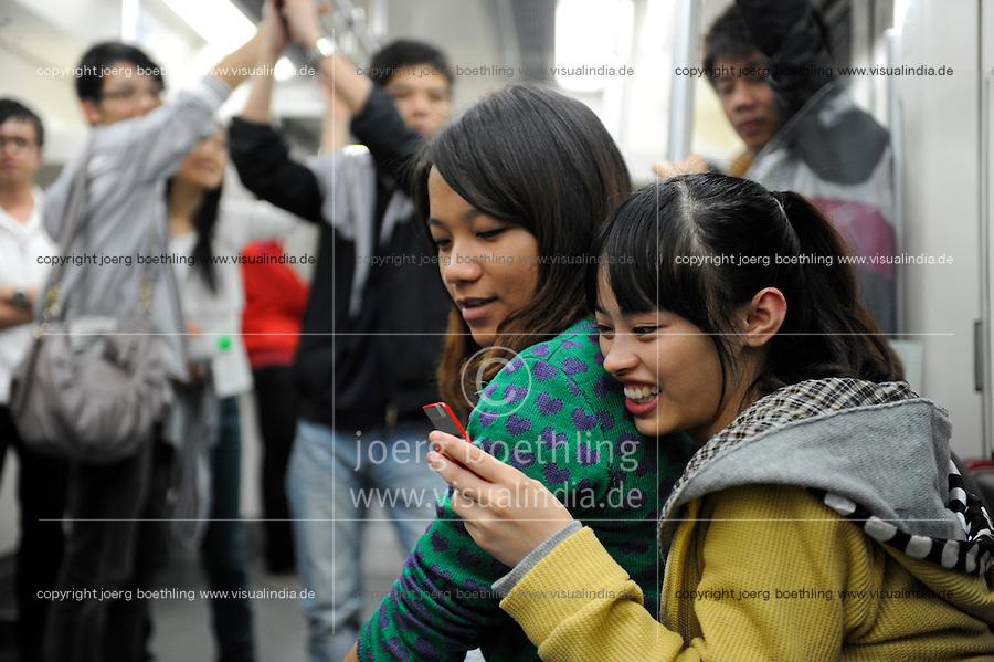 CHINA province Guangdong, city Guangzhou, metro train / VR CHINA , Metropole Guangzhou Kanton, U-Bahn