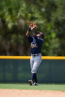GCL Braves second baseman Luis Mejia (37) catches a popup during a game against the GCL Pirates on August 10, 2016 at Pirate City in Bradenton, Florida.  GCL Braves defeated the GCL Pirates 5-1.  (Mike Janes/Four Seam Images)
