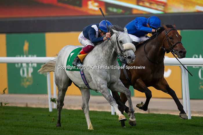 RIYADH,SAUDI ARABIA-FEB 29: Dark Power,ridden by Frankie Dettori,wins the 1351 Turf Sprint at King Abdulaziz Racetrack on February 29,2020 in Riyadh,Saudi Arabia. Kaz Ishida/Eclipse Sportswire/CSM