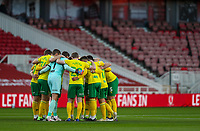 Norwich City players huddle before kick off<br /> <br /> Photographer Alex Dodd/CameraSport<br /> <br /> The EFL Sky Bet Championship - Middlesbrough v Norwich City - Saturday 21st November 2020 - Riverside Stadium - Middlesbrough<br /> <br /> World Copyright © 2020 CameraSport. All rights reserved. 43 Linden Ave. Countesthorpe. Leicester. England. LE8 5PG - Tel: +44 (0) 116 277 4147 - admin@camerasport.com - www.camerasport.com