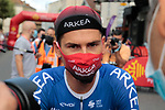 Masked French Champion Warren Barguil (FRA) Team Arkea-Samsic at sign on before Stage 3 of the Route d'Occitanie 2020, running 163.5km from Saint-Gaudens to Col de Beyrède, France. 3rd August 2020. <br /> Picture: Colin Flockton | Cyclefile<br /> <br /> All photos usage must carry mandatory copyright credit (© Cyclefile | Colin Flockton)