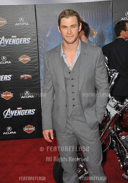 """Chris Hemsworth at the world premiere of his new movie """"Marvel's The Avengers"""" at the El Capitan Theatre, Hollywood..April 11, 2012  Los Angeles, CA.Picture: Paul Smith / Featureflash"""