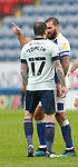03.10.20 - Blackburn Rovers v Cardiff City - Sky Bet Championship - Lee Tomlin of Cardiff walks off having received a 2nd yellow and pushes Bradley Johnson of Blackburn Rovers…who then retaliates and points to the way off the pitch