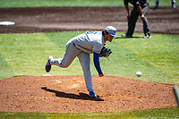 Duke Blue Devils pitcher Jimmy Loper (6) delivers a pitch to the plate against the Wright State Raiders in NCAA Regional play on Robert M. Lindsay Field at Lindsey Nelson Stadium on June 5, 2021, in Knoxville, Tennessee. (Danny Parker/Four Seam Images)