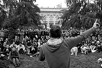 milano, assemblea degli studenti al politecnico leonardo contro la riforma dell'istruzione --- milan, student assembly at the leonardo Polytechnic University against the school reform