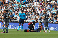 SAINT PAUL, MN - JULY 3: Michael Boxall #15 of Minnesota United FC is checked by medical staff during a game between San Jose Earthquakes and Minnesota United FC at Allianz Field on July 3, 2021 in Saint Paul, Minnesota.