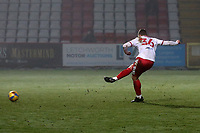 Luke Norris with a penalty for Stevenage which is saved during Stevenage vs Swansea City, Emirates FA Cup Football at the Lamex Stadium on 9th January 2021
