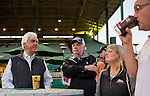 October 26, 2014: Trainer Bob Baffert holds court with the media during morning workouts at Santa Anita Race Course in Arcadia, California on October 26, 2014. Scott Serio/ESW/CSM