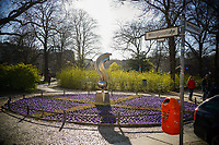 * 04 04 2020,Berlin,Germany,GER,the city in times of the corona pandemic Witzlebenstrasse Corner Witzlebenplatz A flowerbed<br /> Photo Imago/Panoramic/Insidefoto