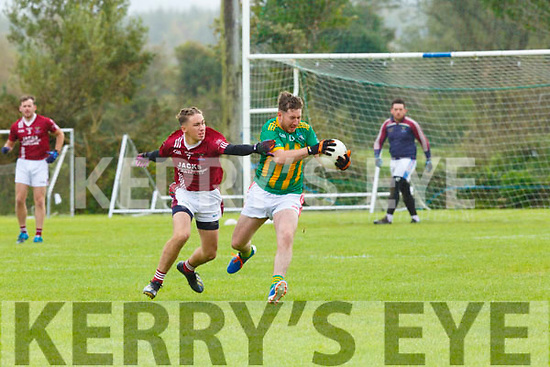 Brice Dorieu  Cromane tackles Darragh Ó Brosnachain Lispole in action during the Kerry Novice club semi final in Keel on Sunday