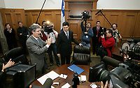 Quebec City ? March 29, 2007. ADQ's Mario Dumont is welcomed by his 40 MNAs at the National Assembly in Quebec City as he open the first ADQ caucus as the official opposition following Monday?s provincial election.  ADQ 41 MNAs is a major upgrade from the 5 they add before, and many of them will have to learn the tricks of the trade.<br /> <br /> PHOTO :  Francis Vachon - Agence Quebec Presse