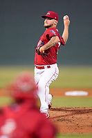 Pitcher Chase Shugart (12) of the Greenville Drive in a game against the Greensboro Grasshoppers on Friday, July 23, 2021, at Fluor Field at the West End in Greenville, South Carolina. (Tom Priddy/Four Seam Images)