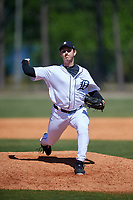 Detroit Tigers pitcher Drew Carlton (43) during a Minor League Spring Training game against the Atlanta Braves on March 22, 2018 at the TigerTown Complex in Lakeland, Florida.  (Mike Janes/Four Seam Images)