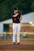 Batavia Muckdogs starting pitcher RJ Peace (22) looks in for the sign during a game against the West Virginia Black Bears on June 18, 2018 at Dwyer Stadium in Batavia, New York.  Batavia defeated West Virginia 9-6.  (Mike Janes/Four Seam Images)