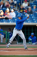 Dunedin Blue Jays second baseman Cavan Biggio (4) at bat during a game against the Clearwater Threshers on April 7, 2017 at Spectrum Field in Clearwater, Florida.  Dunedin defeated Clearwater 7-4.  (Mike Janes/Four Seam Images)