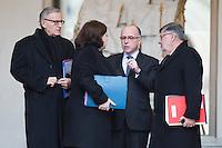 ALAIN VIDALIES - ANDRE VALLINI - BERNARD CAZENEUVE PREMIER MINISTRE APR»S LE CONSEIL DES MINISTRES DU 11 JANVIER 2017 A PARIS.