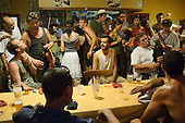 An evening session in the village bar during the 31st International Festival of Luthiers and Maitres Sonneurs, in Saint Chartier, France.