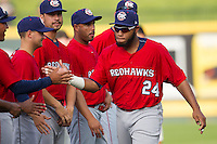 Oklahoma City Redhawks first baseman Jonathan Singleton #24 is introduced before the Pacific Coast League baseball game against the Round Rock Express on April 3, 2014 at the Dell Diamond in Round Rock, Texas. The Redhawks defeated the Express 7-6 in the season opener for both teams. (Andrew Woolley/Four Seam Images)