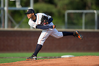 Buies Creek Astros starting pitcher Elieser Hernandez (31) follows through on his delivery against the Wilmington Blue Rocks at Jim Perry Stadium on April 29, 2017 in Buies Creek, North Carolina.  The Astros defeated the Blue Rocks 3-0.  (Brian Westerholt/Four Seam Images)